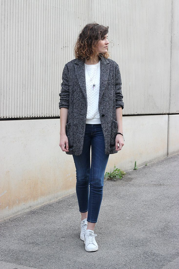 boyish jacket cropped jeans and stan smith sneakers