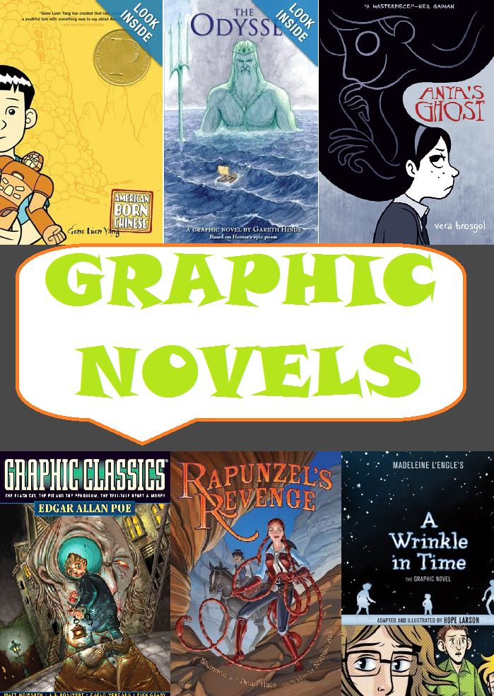 GRAPHIC NOVELS - Looking for graphic novels to bring into your middle school or high school classroom? Start with this great list! Grades 5-12.
