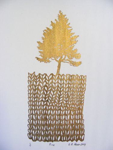 E A Hansen, Pine, 2014, digital print with gold leaf, Part of the Fair Isles Suite of 27 prints