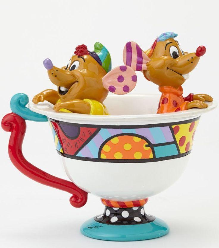 Romero Britto Disney Cinderella Jaq and Gus in Tea Cup Pop Art Figurine. From eBay.