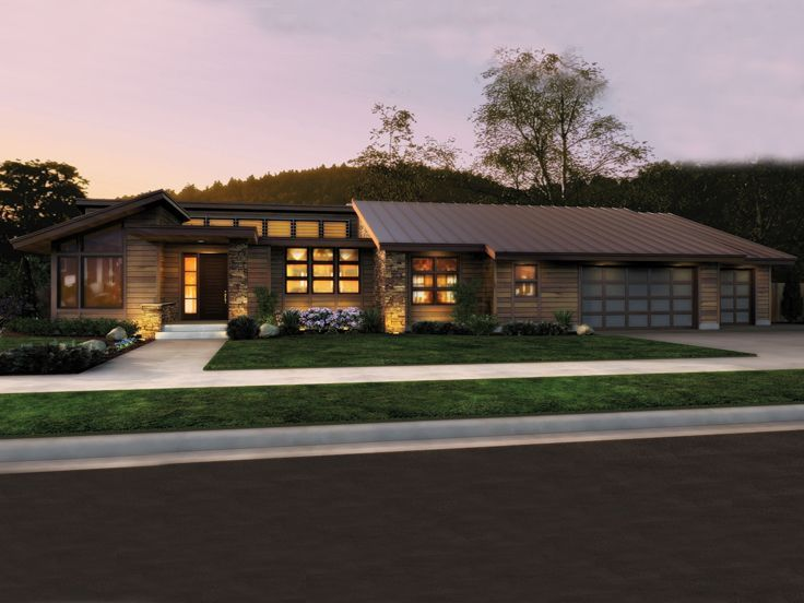 034h 0299 Modern Ranch House Plan With Open Living Spaces Luxury House Plans Ranch House Plans Modern House Plans