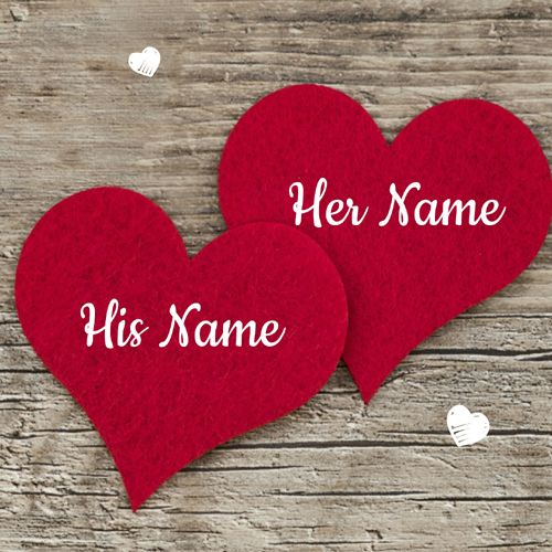 Romantic Couple Red Heart Greeting Card With Lover NameCreate Name PixRomantic For Cute Custom On