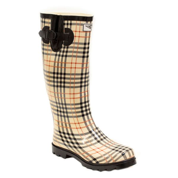 Women's Forever young Wedge Rain Boots 6 RM Medium (1,405 DOP) ❤ liked on Polyvore featuring shoes, boots, multi colored shoes, wedge heel rain boots, wellington boots, multi color boots and forever young shoes