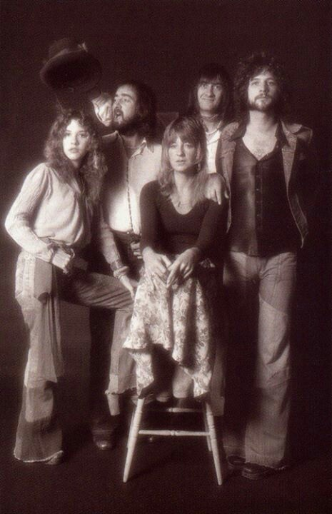 Fleetwood Mac, in one of the first promo photos featuring new members Stevie Nicks and Lindsey Buckingham; 1975.