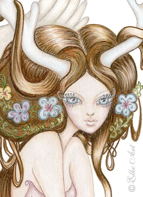 Medium Elke Art Print  A4  297mm X 210mm  Celeste & by elkeart