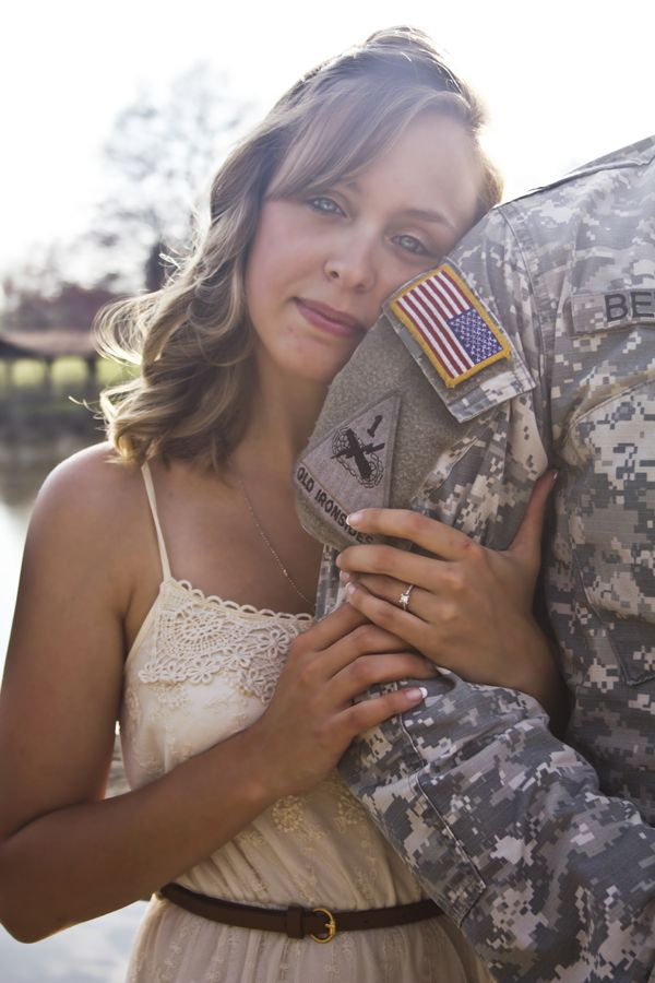So much emotion in her eyes, beautiful army engagement session Samantha Hebert Photography #engagement #couples