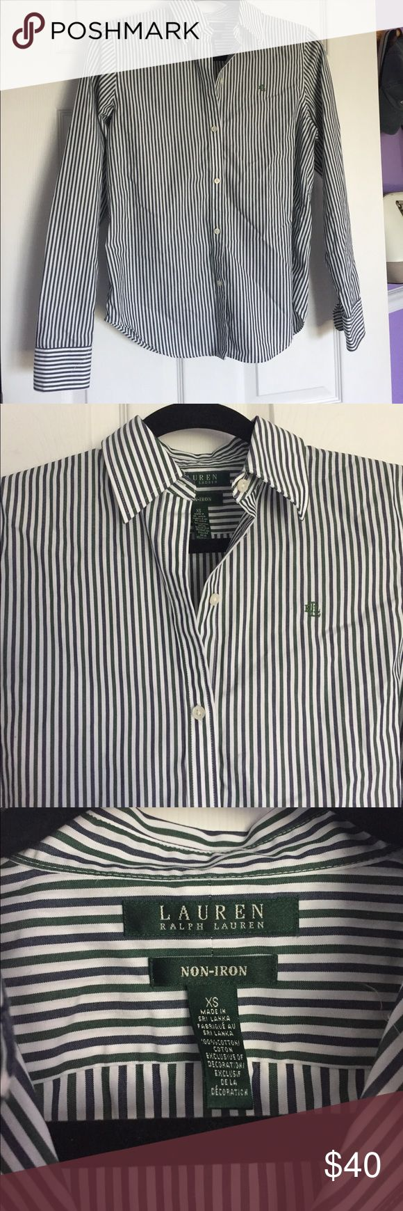 Ralph Lauren Striped Dress Shirt This Ralph Lauren dress shirt is no-iron which means it's very easy to take care of! The mainly white shirt with thin navy and green stripes is classy and preppy! The shirt is in great condition and has only been worn a few times. Lauren Ralph Lauren Tops Button Down Shirts