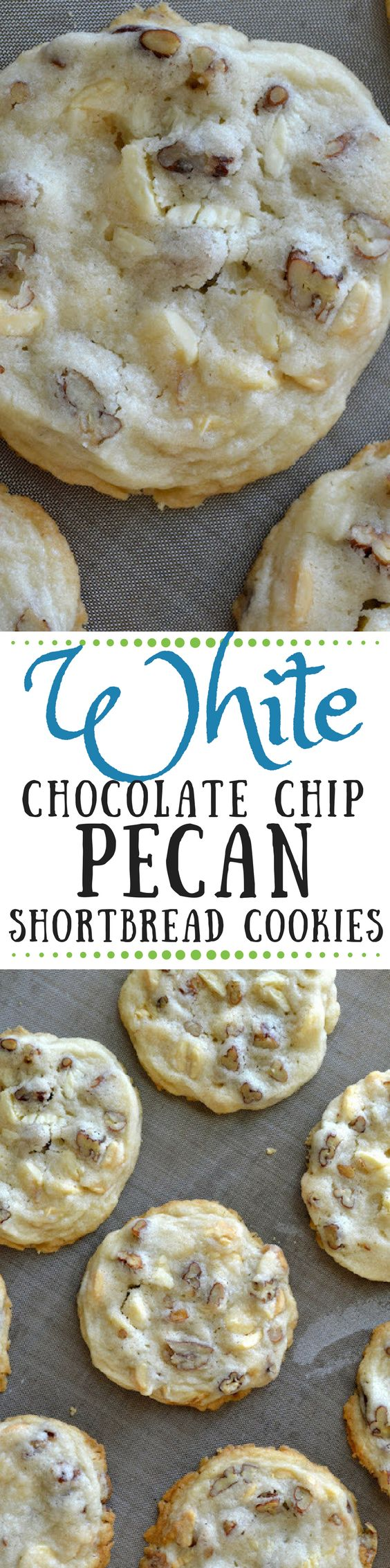 This easy White Chocolate Chip Pecan Shortbread Cookie recipe makes the perfect delicate, light shortbread cookies. The slice and bake dough freezes well, too, so you can bake them up whenever the urge strikes!