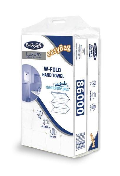 BulkySoft Luxury W-Fold MEMBRANE PLUS 1500 szt. Ręcznik papierowy Bulkysoft składany  W-FOLD - 4 panelowy, trzywarstwowy o długości listka aż 42cm!  Najdłuższy i jedyny taki ręcznik papierowy na rynku.  To najlepsze rozwiązanie do osób, które szukają niezwykle chłonnych ręczników papierowych - eleganckich, wytrzymałych i wydajnych.