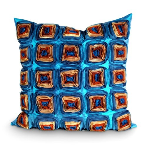 Find it at the Foundary - Blue: Decor, Copper Squares, Blue, Dry Clean, Handcrafted Pillows, Accessories, 20 Inch, Squares Pillows, Squares Maine