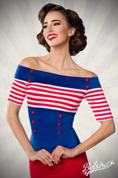 """""""Jersey-Top""""    - schulterfreie Bluse - mit Gummizug am Ausschnitt - kurze Ärmel - dekorative Stoffknöpfe - Rückenlänge in Größe XS ca. 45cm - endkundengerechte Verpackung - hochwertige Qualität"""
