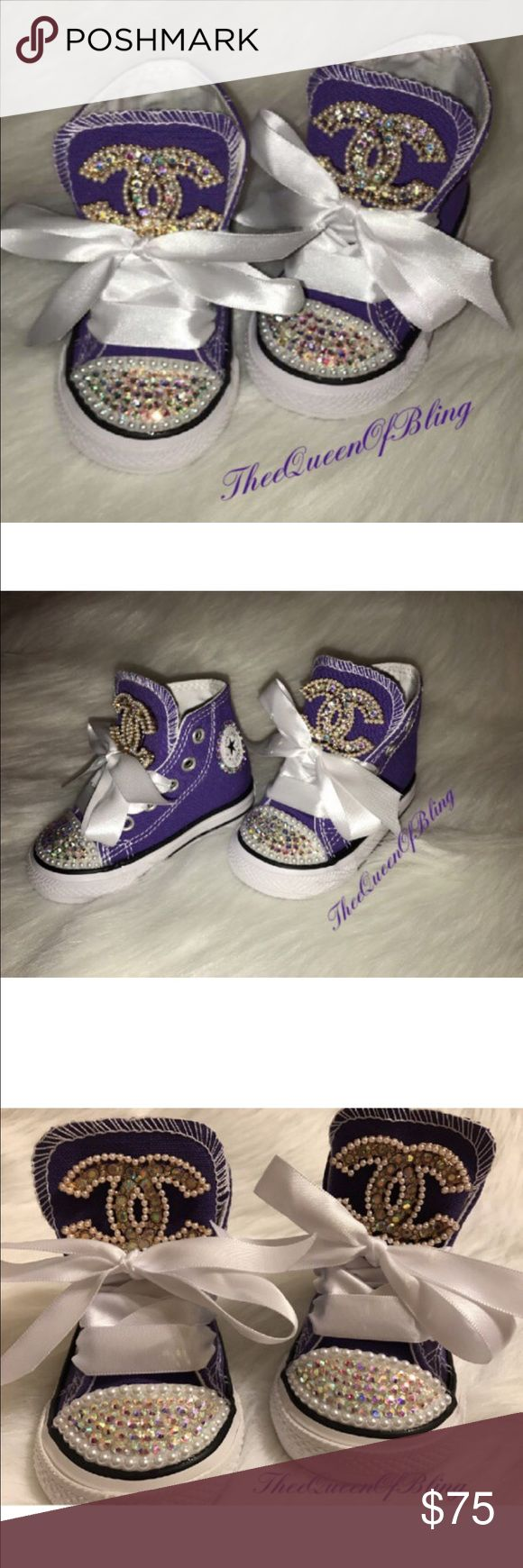 Toddler Converse One of a kind - Chanel inspired toddler converse 💎✨ Embellished by me Sizes 4c-  Price is firm! No offers will be accepted Converse Shoes Sneakers