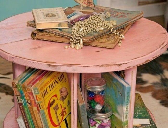 touret-table-basse-peint-en-rose-avec-espace-de-rangement-pour-livres-et-fourniture-de-bureau-resized