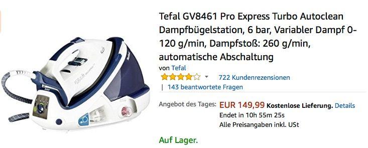 Tefal GV8461 Pro Express Turbo Dampfbügelstation Haus  Garten - bosch küchenmaschine profi 67