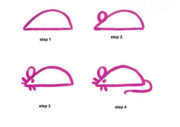 How to draw a simple mouse using directed or guided drawing. #kindergarten