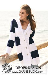 """Knitted DROPS jacket in stripy pattern with collar and wide front bands in """"Paris"""". Size S - XXXL. ~ DROPS Design"""