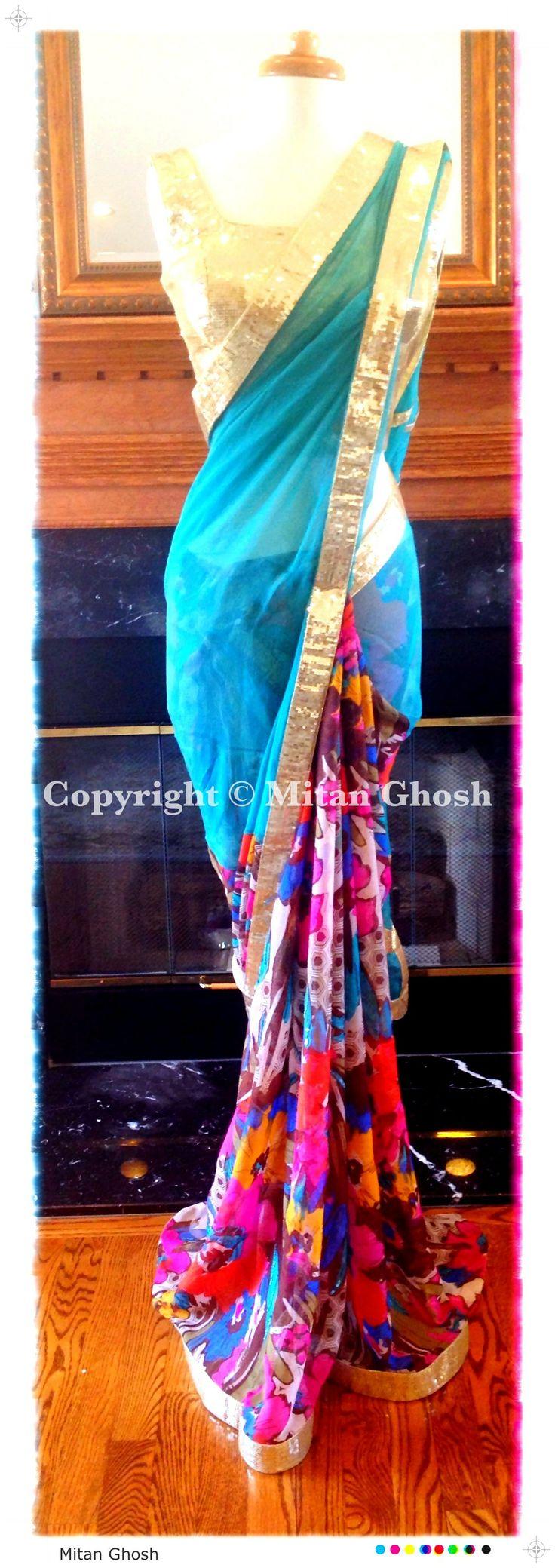 Georgette printed saree with Chiffon Palla.