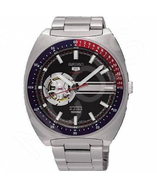 Reloj Seiko Neo Sports Automático, Calibre 4R38. Reloj Automático, con maquinaria a la vista en la esfera. Caja de acero, esfera negra y brazalete acero.