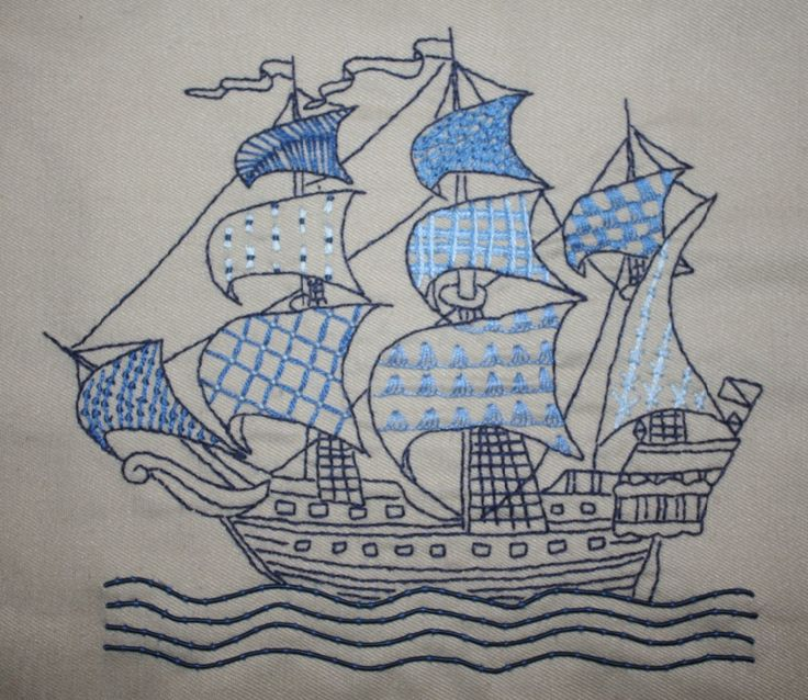 Sailing Ship Sampler - a different stitch for every sail! Blogged at www.dorkwithaneedle.com
