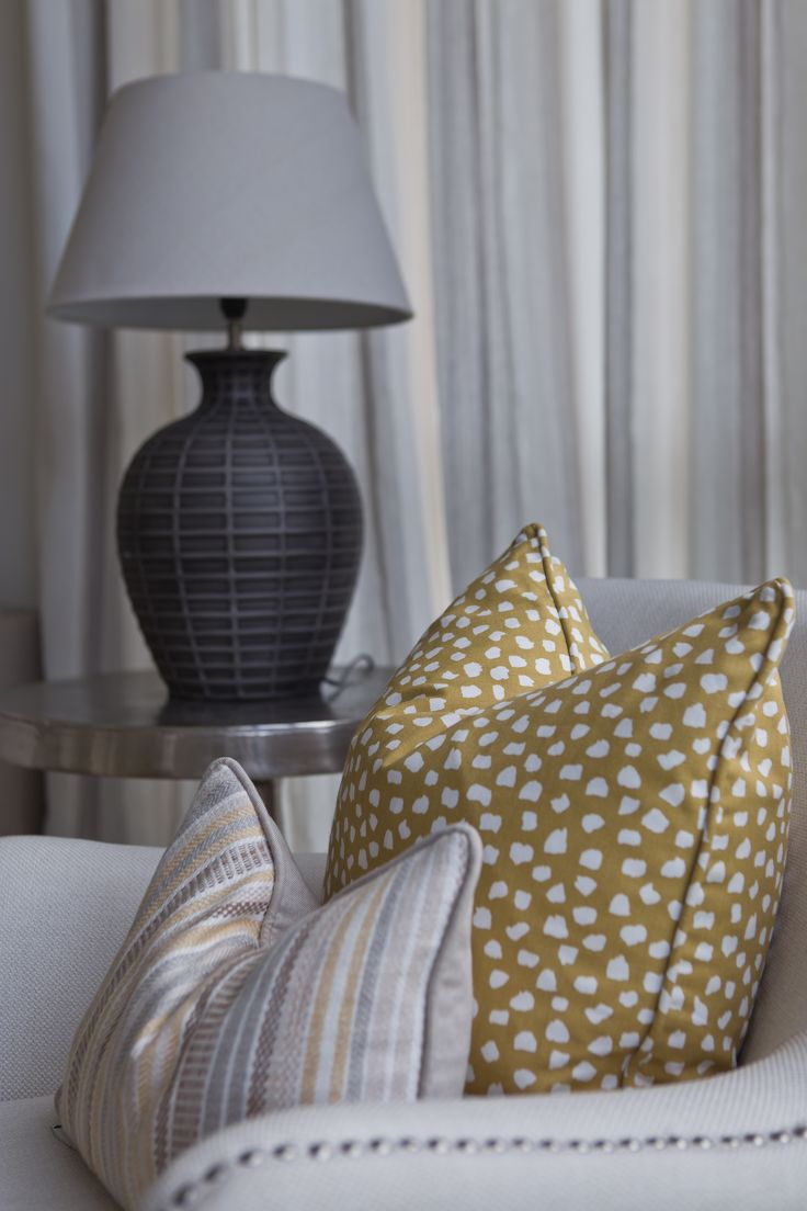 Home Staging | Interior Design Yellow and Neutral cushions