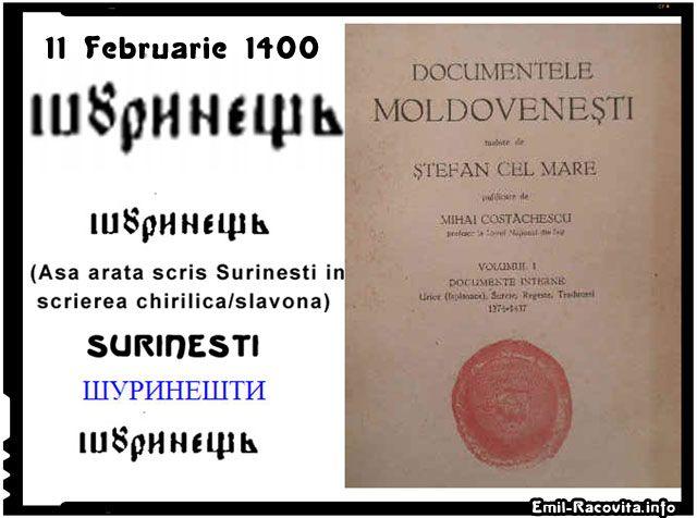 Satul Suranesti este atestat documentar pentru prima data la 11 Februarie 1400!