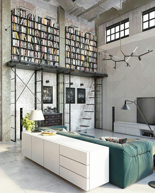 """35 curtidas, 4 comentários - @inirumahkita no Instagram: """"Desain ruang kontemporer dan cocok bagi kalian pencinta buku.. 😄"""""""