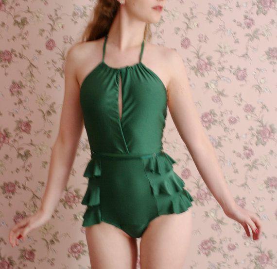 womens one piece swimsuit  made to order by sandmaidensleepwear, $108.00