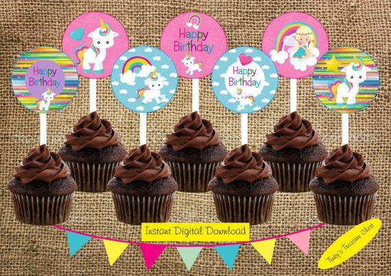 Digital Download Baby Unicorn  2 Inch Circle Cupcake Toppers.
