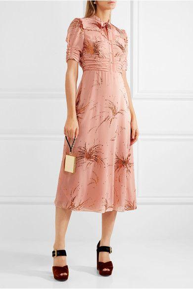 Miu Miu | Ruffled metallic embroidered georgette midi dress | NET-A-PORTER.COM