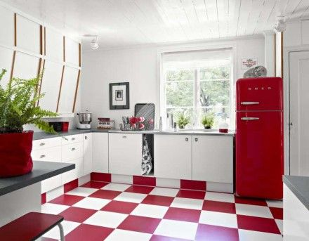 red flooring and fridge