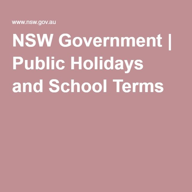 NSW Government | Public Holidays and School Terms