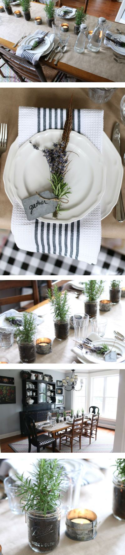 Simple Holiday Table: DIY Mason Jar plants