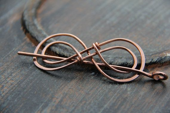 Hair slide hair barrette copper Double Infinity от Keepandcherish