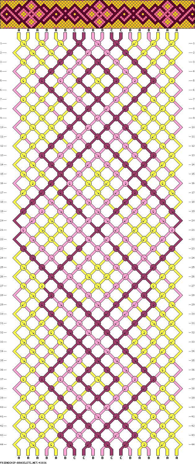 Muster # 43836, Streicher: 18 Zeilen: 44 Farben: 3