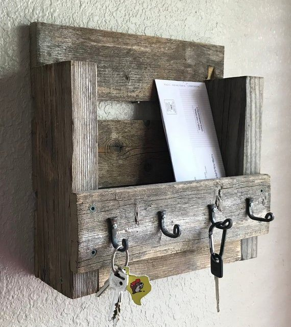 Mail And Key Holder Rustic Farmhouse Style Hand Forged Hooks Aged Wood Entry Wall Decor In 2020 Mail Key Holder Rustic Farmhouse Aging Wood