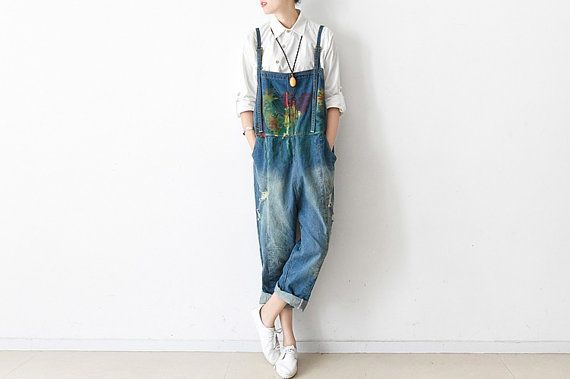 Womens Retro Loose Fitting Cotton Jumpsuits Overalls Pants