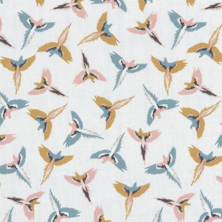 Tissu coton épais perroquets multico  - Mondial Tissus