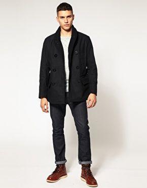 Replay Shawl Collar Pea Coat