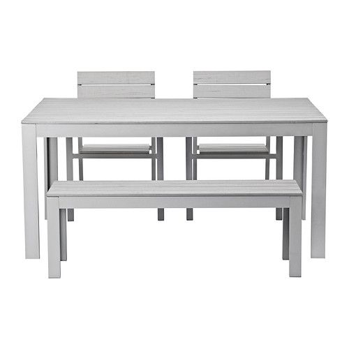 IKEA - FALSTER, Table+2 chairs+ bench, outdoor, grey, , The polystyrene slats are weather-resistant and easy to care for.The furniture is both sturdy and lightweight as the frame is made of rustproof aluminium.You can make your chair more comfortable and personal by adding a chair cushion or pad in a style you like.