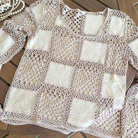 Bel.íssima blusa em crochê com tecido, Maravilhosa... - 11:33:06