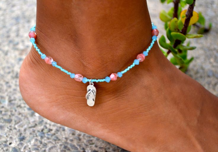 Coral Pink & Turquoise Beaded Anklet with by uniquebeadingbyme