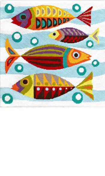 Retro Modern Fish Tapestry Kit by Emily Peacock