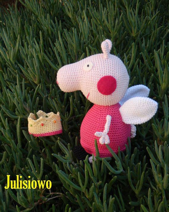 Crochet doll like a Peppa Pig Princess PDF pattern by JulioToys