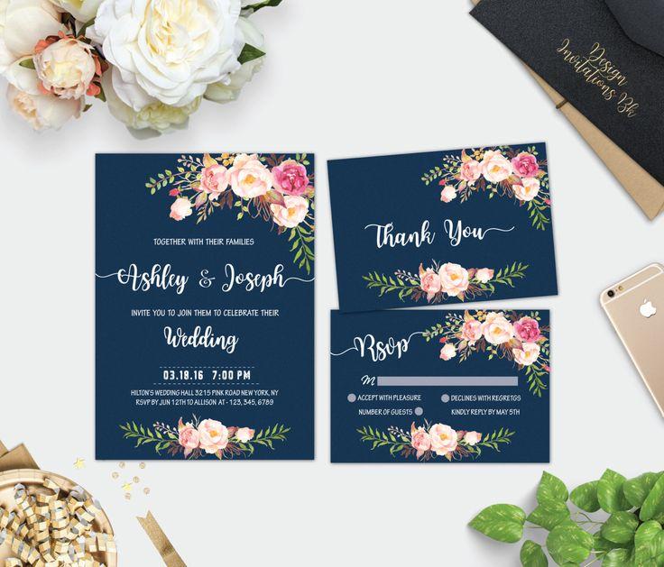 Navy Wedding Invitation, Wedding Invitation Template, Wedding Invitation  Set, Printable Invitation, Navy