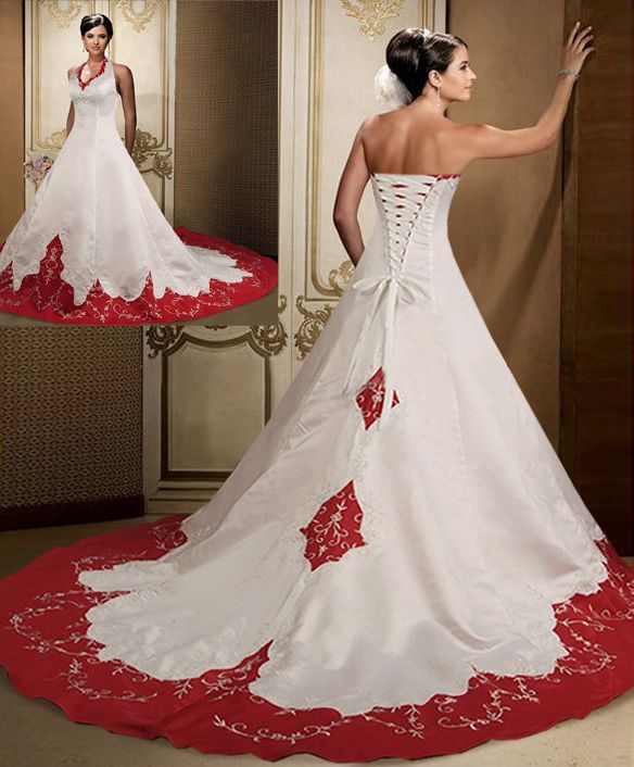 Blood Pool Halterneck wedding gown Wedding Dresses
