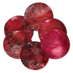 Focal, mussel shell (dyed / coated), red, 40mm flat round, Mohs hardness 3-1/2. Sold per pkg of 6.
