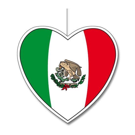 Decoratie hart Mexico 30 cm. Het decoratie hart in Mexicaanse kleuren is gemaakt van stevig papier en kan opgehangen worden middels het aangehechte touw. Het hart is ongeveer 30 cm groot.