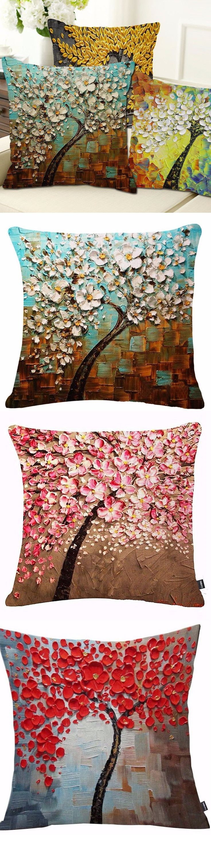 US$4.29 20 Styles 3D Vintage Flower Cotton Linen Pillow Case Waist Cushion Cover Bags Home Car Deco