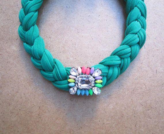 Green Necklace-Multicolored Accessory Rhinestones by lecosedites
