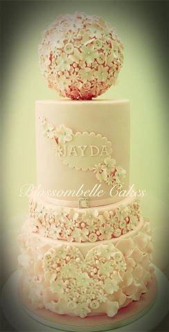 Christening cake with sphere by Blossombelle Cakes - Eliza Virgona facebook.com/blossombellecakes